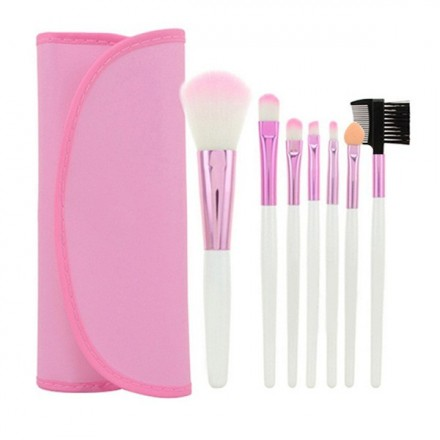Pink Pouch Makeup Brush Set
