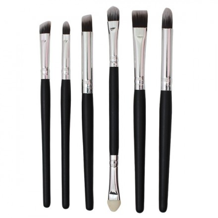 Black Silver Makeup Brush (6pcs)